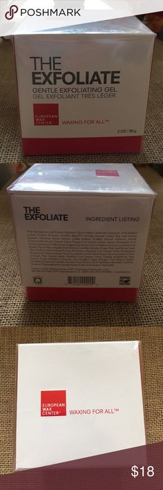 EXFOLIATE European Wax Center (2oz) new and sealed EXFOLIATE European Wax Center 2 oz new and sealed. This product buffs and polishes using papaya and pineapple enzymes. It exclusive comfort blend of antioxidants includes aloe Vera, vitamin A C and E to ensure your skin glows and gives your skin the tender love it needs. Thanks for looking 💋 European Wax Center  Makeup