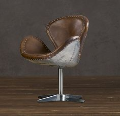 DEVON SPITFIRE LEATHER CHAIR WITHOUT CASTERS :: Restoration Hardware