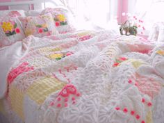 GORGEOUS WARM SNUGGLY Vintage Chenille Patchwork by thepinkpalace