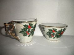 Vintage Soft Iridescent Glaze Christmas sugar creamer with Holly