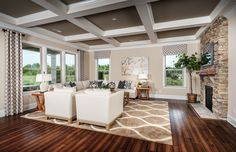 Transitional Living Room with metal fireplace, Box ceiling, High ceiling, Hardwood floors, Cambridge Stone Wall Panel, Carpet
