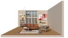 A modern mid century take on living room furniture arrangement.