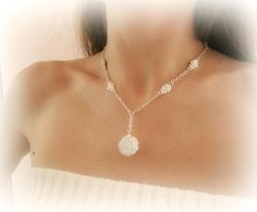 Rose flower necklace white flower y necklace moonstone