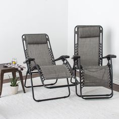 Grey Infinity Zero Gravity Chair Pack Of 2 Patio Lounge Chairs Pool Deck Chairs  #CaravanCanopy