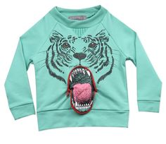 Milk on the Rocks Tiger Braces Sweatshirt (spearmint) : Boy Shirts + Sweaters : Boy Clothes : Black Wagon ($50-100) - Svpply