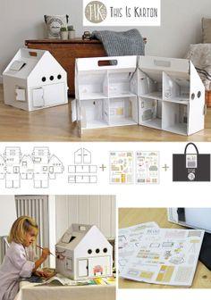 Diy Cardboard Furniture, Cardboard Box Crafts, Cardboard Toys, Paper Toys, Doll Furniture, Dollhouse Furniture, Cardboard Houses, Cardboard Playhouse, Paper Craft