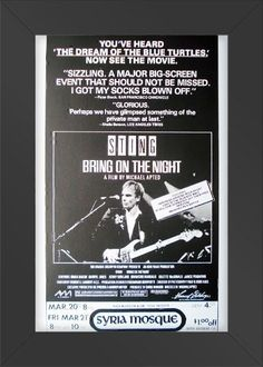 11x17 Concert Poster Sting Bring on the Night Framed or Un-Framed