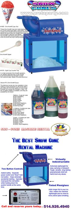 Sno-Cone Machine rentals from Montreal's Prêt-A-Party! Party Rental Supplies, Sno Cones, Bar Mitzvah, Party Party, Event Decor, Entertaining, Bat Mitzvah, Hilarious