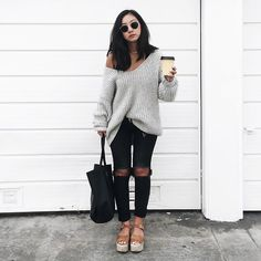 Get this look: http://lb.nu/look/8594183 More looks by Tiffany Wang: http://lb.nu/tiffwang Items in this look: Aritzia Sweater, Gap Jeans, Topshop Flatforms, Céline Tote, Ray Ban Sunglasses #aritzia #baggyknit #cozyknit #oversizedsweater #sweater #topshop #flatforms #rippedjeans #gap