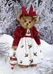 """Bearington Bears - Holly Belle, Holly Belle was the fourth in Bearington's series of limited edition holiday ornament bears. She plays """"Deck the Halls"""". Retired 2006"""