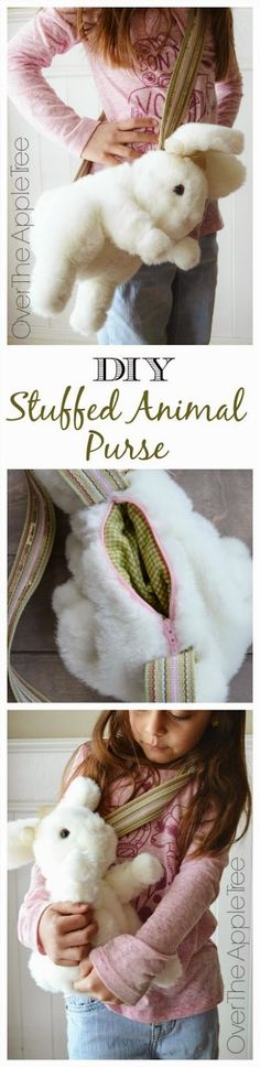 DIY Purse From A Stuffed Animal. Wow, you can take an old stuffed animal and an old belt and turn them into a cute kid's purse!  >> Over The Apple Tree