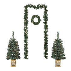 Christmas Tree Entryway Set Lighted 5Pc Garland Door Wreath & Trees In Pot Decor #HomeDealsMarket #ChineseNewYearChristmas Pre Lit Christmas Tree, Outdoor Christmas Decorations, Artificial Garland, Porch Steps, Potted Trees, Jingle All The Way, Holiday Time, Holiday Gifts, Green Trees