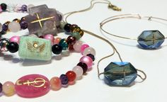 God Rocks, LLC, a #WindyCityGiftShow exhibitor, creates unique jewelry with focal stones that feature etched crosses in gold leafing. Hand-beaded, each item is unique in creation.