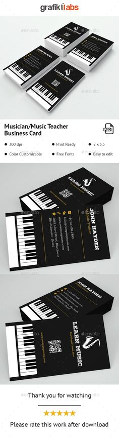 Piano Musician Business Card PSD Template Black Simple O Download