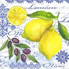 Lemons and Olives-pair by Elena Vladykina China Painting, Ceramic Painting, Lemon Drawing, Vintage Italian Posters, Lemon Art, Vintage Tin Signs, Fruit Picture, Plate Design, Menu Design