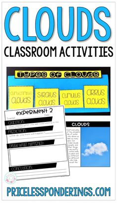 Help teach your students about types of clouds and make learning fun for kids with these interactive notebook activities and experiments. These lesson plans, flip books, and graphic organizers are perfect for busy teachers who want to save time. Vocabulary Word Walls, Vocabulary Cards, Fourth Grade Science, Elementary Science, Science Resources, Science Books, Teaching Resources, Expository Writing, Reading Passages