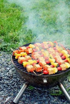 Spicy Grilled Tofu And Vegetables Kebabs