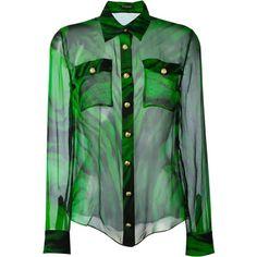 Balmain printed sheer shirt ($1,215) ❤ liked on Polyvore featuring tops, blouses, balmain, green, sheer shirts, green shirt, see through tops, long-sleeve shirt and long sleeve shirts