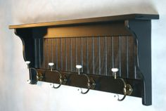 Entryway Wall Shelf Coat Rack Coat Hooks by JoesCustomWoodWorks, $89.95