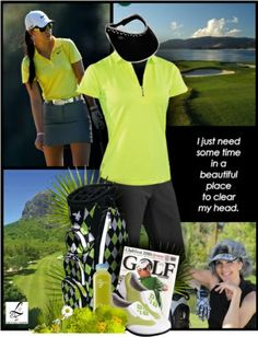 Bright golf look to perk up your day on the course! For more golf fashion inspiration, check out lorisgolfshoppe.polyvore.com #golf #polyvore #lorisgolfshoppe