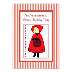 Fairy Tale Little Red Riding Hood Birthday Party 5x7 Paper Invitation Card