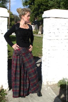Купить длинную юбку в пол в клетку