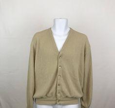 Vintage Lord Jeff Cardigan Sweater Size XL, Jefflinks Dupont Orlon Acrylic Cardigan, Grandpa Sweater, Tan Golf Sweater, Hipster Cardigan by UniqueTreasuresPA on Etsy