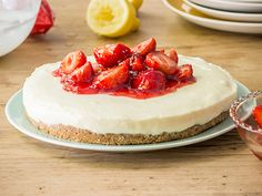 Our easy no-bake strawberry cheesecake recipe is a delicious dessert for any occasion - and it only takes 20 minutes to prepare! Get the recipe here. No Bake Lemon Cheesecake, Strawberry Cheesecake, Cheesecake Recipes, Milk Recipes, Sweet Recipes, Baking Recipes, Rich Tea Biscuits, Easy Desserts, Dessert Recipes