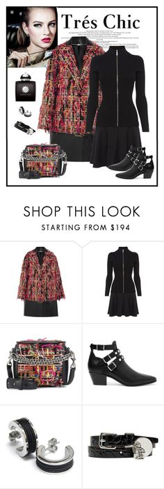 """""""Alexander McQueen Fringed Bouclé Tweed Coat"""" by romaboots-1 ❤ liked on Polyvore featuring Alexander McQueen, Karen Millen, Yves Saint Laurent, Charriol and AMOUAGE"""
