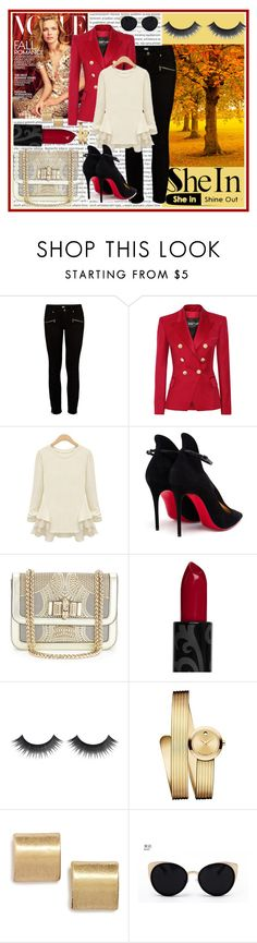 """""""SheIn.com contest - win this beige chiffon ruffles t-shirt!"""" by cherie-vohra on Polyvore featuring Paige Denim, Balmain, Christian Louboutin, Movado, Sole Society and Una-Home"""