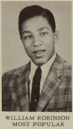 Happy 74th birthday Smokey Robinson born February 19, 1940. View the American R&B singer-songwriter in the 1957 Northern High School yearbook! #SmokeyRobinson #TheMiracles