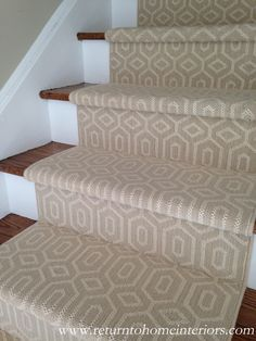 Choosing a Stair Runner: Some Inspiration and Lessons Learned This is a Stanton carpet called Fillmore in Linen.for basement stairs someday New Homes, House Styles, Decor, Interior Design, House Interior, Foyer Decorating, Home, Interior, Home Decor