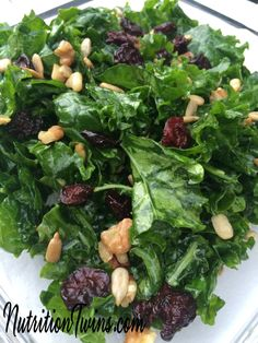 Summer Kale Salad | Only 124 Calories | Sweet, Crunchy & Savory | Takes intimidation out of Kale & helps flush toxins from body | For Nutrition & Fitness Tips & MORE RECIPES please SIGN UP for our FREE NEWSLETTER NutritionTwins.com