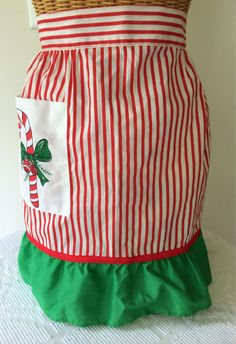 Retro Christmas Apron Candy Striped Candy Cane by NonabelleVintage