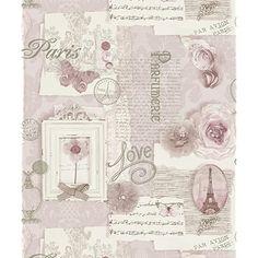 Love Paris Wallpaper Blush Pink arthouse Glitter Sparkle Butterfly Flower