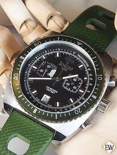 68e274e41f1 Vintage Diver Style ZODIAC SEA DRAGON Chronograph Green Hulk WATCH ZO2228