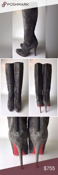 "Louboutin Alta Ariella Gray Suede Boots Euro 39.5 Great condition, worn twice. Bottoms are a bit scuffed from wear. Come as is, will be shipped in other brand's dust bag. No receipt is kept.   Heel is 5.12"" Total length from floor to top of boot is 20"" Boot-top diameter is 13.8"" Platform is 0.8""  Please note, that European designer shoes typically run smaller then US designers. You should know your size in the particular designer's shoes before making a purchase. Christian Louboutin Shoes…"