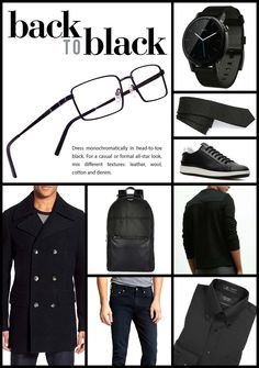 Back to Black. Dress monochromatically in head-to-toe black. Men's Eyewear, Men's Formalwear, Head To Toe, Ray Ban Sunglasses, Back To Black, Formal Wear, Mens Suits, Ray Bans, Leather Jacket