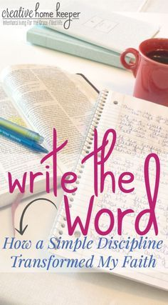 Writing the Word is a simple devotional discipline. It& a habit allowing you to go deep into God& Word instead of passively reading through. Simple and effective, this written discipline has completely transformed my faith and will transform yours too! Bible Study Plans, Bible Study Tips, Bible Study Journal, Scripture Study, Scripture Memorization, Prayer Journals, Bible Art, Kids Bible, Scripture Reading