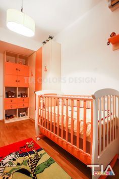 orange kids room Orange Kids Rooms, Cribs, Bed, Color, Furniture, Design, Home Decor, Cots, Decoration Home