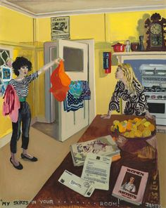 Jacqueline Fahey: Say Something! Dress Painting, New Zealand Art, Feminist Art, Cool Cafe, Australian Art, Book Projects, Painted Paper, Postmodernism, American Art