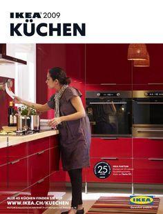 modern red Ikea kitchen