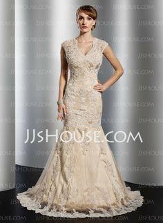 Wedding Dresses - $210.49 - Mermaid V-neck Court Train Satin Tulle Wedding Dress With Lace Beadwork (002014773) http://jjshouse.com/Mermaid-V-Neck-Court-Train-Satin-Tulle-Wedding-Dress-With-Lace-Beadwork-002014773-g14773