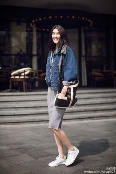 #MingXi doing denim #offduty in Paris.