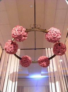 Pretty pink rose sphere chandelier -  hothouse design studio