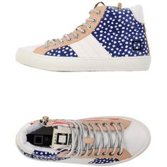 D.a.t.e. Sneakers ($44) ❤ liked on Polyvore featuring shoes, sneakers, blue, blue sneakers, blue shoes, multicolor sneakers, zipper sneakers e leather sneakers