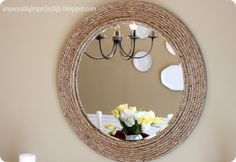 Our Impeccably Imperfect Life: DIY Rope Mirror {Ballard Knock-off} Round Mirror With Rope, Rope Mirror, Diy Mirror, Mirror Ideas, Diy Wall Decor, Diy Home Decor, Entry Mirror, Knock Off Decor, Old Mirrors