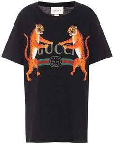 Gucci Women's Black Tiger-print Cotton-jersey T-shirt In Eero Gucci Tee, Gucci Gucci, Brocade Suits, Black Tigers, Tiger Print, White Tees, Printed Cotton, The Help, Short Sleeves