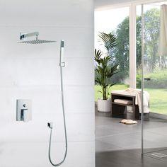 "Waterfall Bathroom Shower Set Torneira Two Way Wall Mounted Shower Sets Mixer Diverter +10"" Head & Hand Held Shower Brass Mixer  #Affiliate"