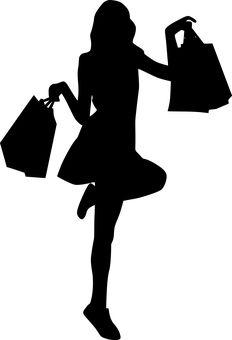 Free Image on Pixabay - Shopping, Bags, Posing, On One Leg - Silhouette - Silhouette Clip Art, Girl Silhouette, My Images, Free Images, Girls Shopping, Shopping Bags, Pop Art Women, Bag Illustration, Code Black